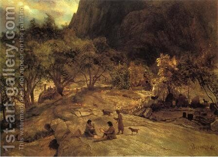 Mariposa Indian Encampment  Yosemite Valley  California by Albert Bierstadt - Reproduction Oil Painting