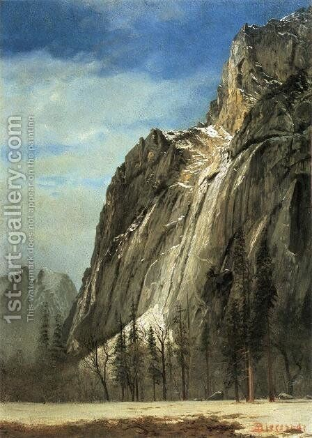 Cathedral Rocks  A Yosemite View by Albert Bierstadt - Reproduction Oil Painting