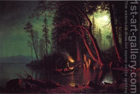Lake Tahoe  Spearing Fish By Torchlight by Albert Bierstadt - Reproduction Oil Painting