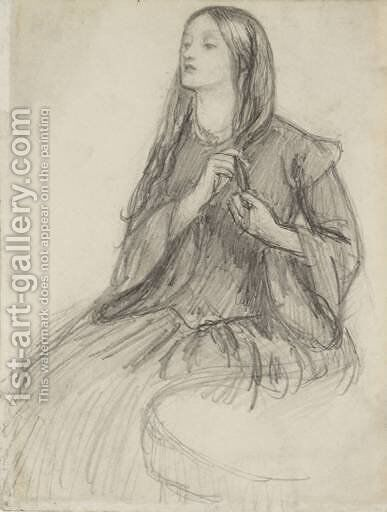 Elizabeth Siddall Plaiting Her Hair by Dante Gabriel Rossetti - Reproduction Oil Painting
