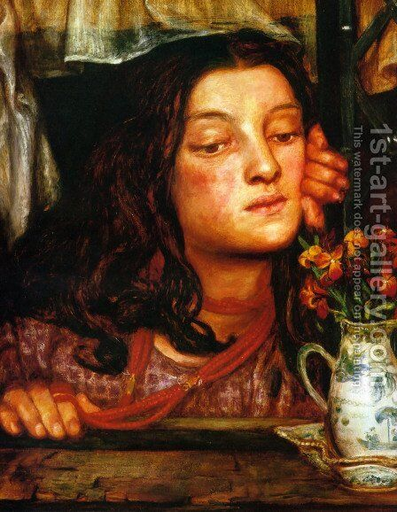 Girl At A Lattice by Dante Gabriel Rossetti - Reproduction Oil Painting