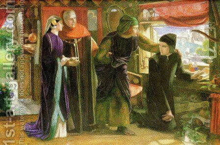The First Anniversary of the Death of Beatrice 1853-54 by Dante Gabriel Rossetti - Reproduction Oil Painting