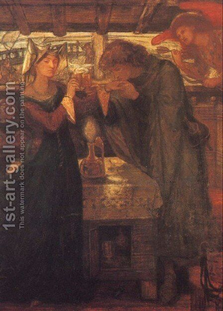 Tristram And Isolde Drinking The Love Potion by Dante Gabriel Rossetti - Reproduction Oil Painting