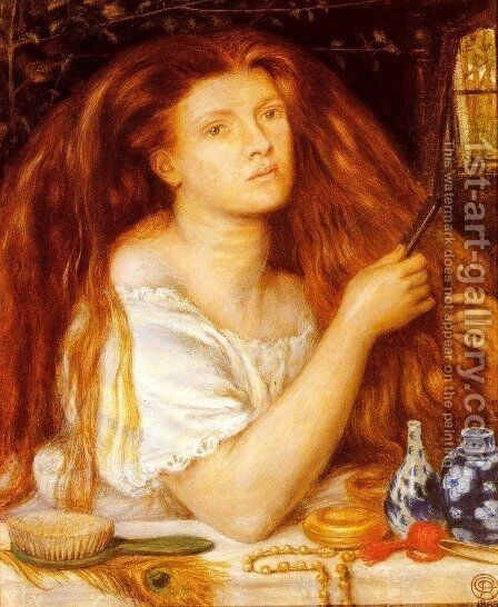 Woman Combing Her Hair by Dante Gabriel Rossetti - Reproduction Oil Painting