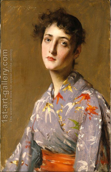 Girl In A Japanese Kimono by William Merritt Chase - Reproduction Oil Painting