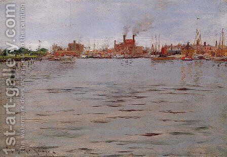 Harbor Scene  Brooklyn Docks by William Merritt Chase - Reproduction Oil Painting