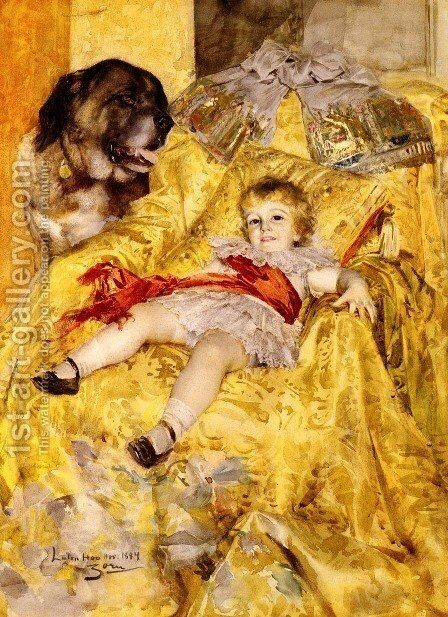 A Portrait Of Christian De Falbe  With A Saint Bernard At Luton Hoo by Anders Zorn - Reproduction Oil Painting