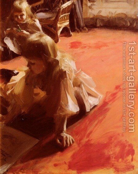 A Portrait Of The Daughters Of Ramon Subercasseaux by Anders Zorn - Reproduction Oil Painting