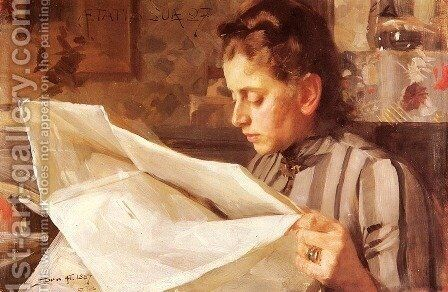 Emma Zorn  Lasande by Anders Zorn - Reproduction Oil Painting