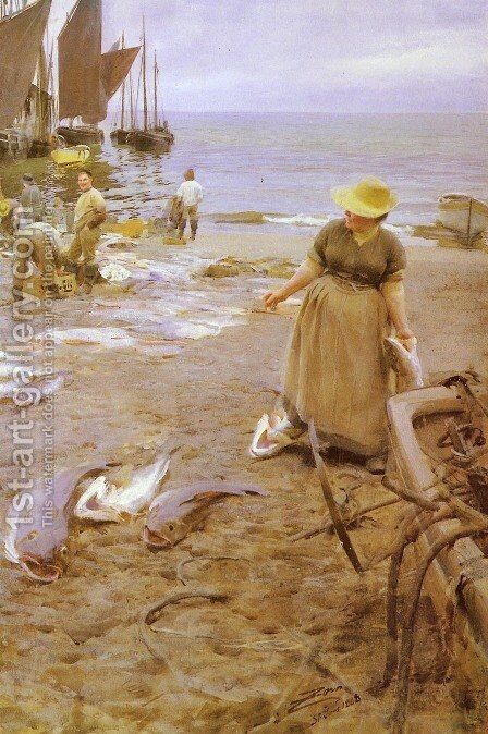 Fiskmarknad I St  Ives by Anders Zorn - Reproduction Oil Painting