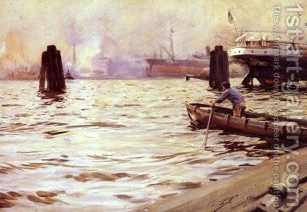 Hamburgs Hamn by Anders Zorn - Reproduction Oil Painting