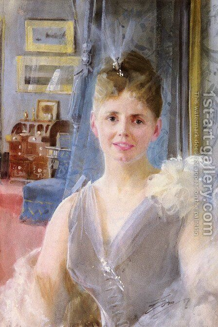 Portrait Of Edith Palgrave Edward In Her London Residence by Anders Zorn - Reproduction Oil Painting