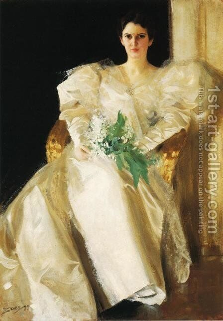 Portrait Of Mrs  Eben Richards by Anders Zorn - Reproduction Oil Painting