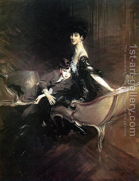 Consuelo  Duchess Of Marlborough  With Her Son Ivor Spencer Churchill by Giovanni Boldini - Reproduction Oil Painting