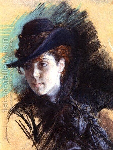 Girl In A Black Hat by Giovanni Boldini - Reproduction Oil Painting