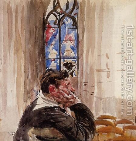 Portrait Of A Man In Church by Giovanni Boldini - Reproduction Oil Painting
