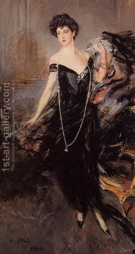 Portrait Of Donna Franca Florio by Giovanni Boldini - Reproduction Oil Painting