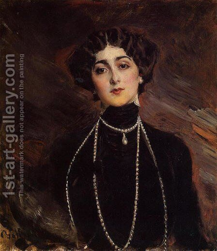 Portrait Of Lina Cavalieri by Giovanni Boldini - Reproduction Oil Painting