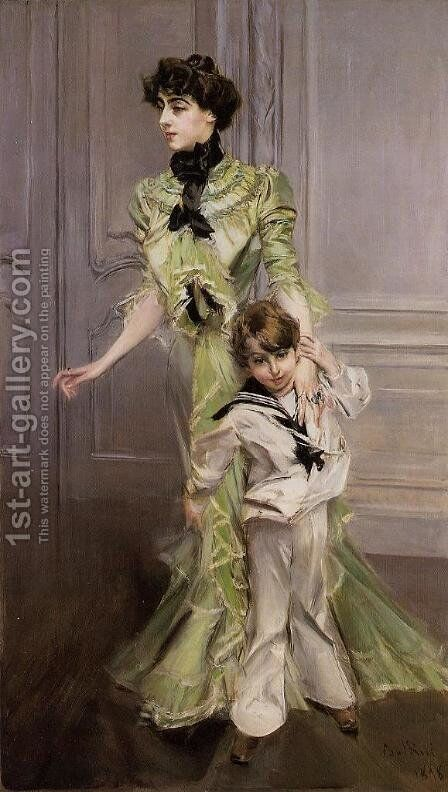 Portrait Of Madame Georges Hugo (nee Pauleen Menard Dozian) And Her Son  Jean by Giovanni Boldini - Reproduction Oil Painting