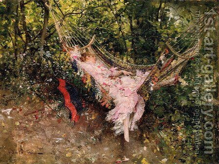 The Hammock by Giovanni Boldini - Reproduction Oil Painting