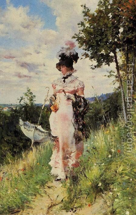 The Summer Stroll by Giovanni Boldini - Reproduction Oil Painting