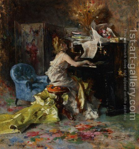 Woman At A Piano by Giovanni Boldini - Reproduction Oil Painting