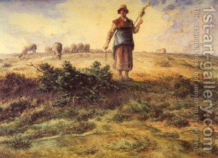 A Shepherdess And Her Flock by Jean-Francois Millet - Reproduction Oil Painting