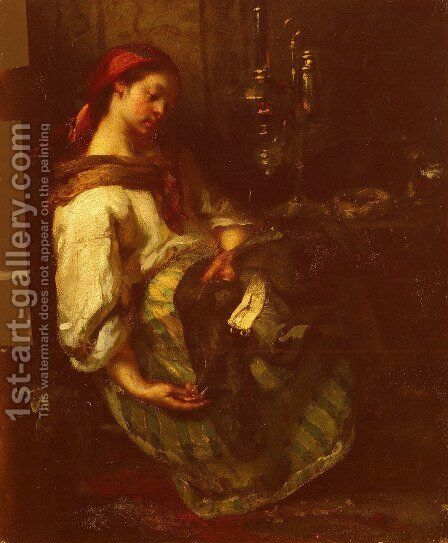Couseuse Endormie by Jean-Francois Millet - Reproduction Oil Painting