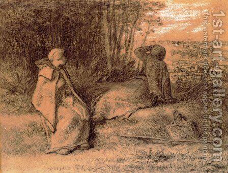 Shepherdesses Seated In The Shade by Jean-Francois Millet - Reproduction Oil Painting
