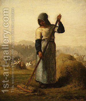 Woman With A Rake by Jean-Francois Millet - Reproduction Oil Painting