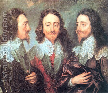 Charles I in Three Positions 1635-36 by Sir Anthony Van Dyck - Reproduction Oil Painting
