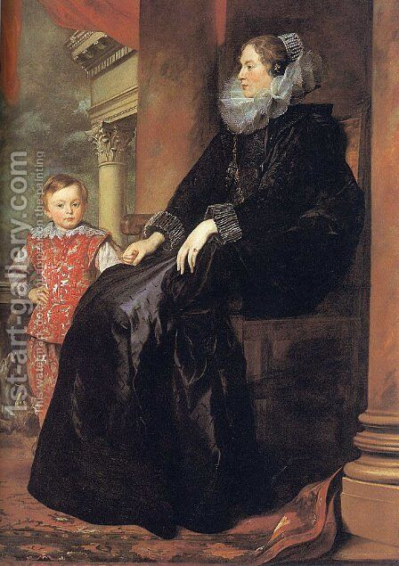 Genoese Noblewoman with her Son 1626 by Sir Anthony Van Dyck - Reproduction Oil Painting