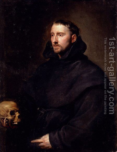 Portrait Of A Monk Of The Benedictine Order  Holding A Skull by Sir Anthony Van Dyck - Reproduction Oil Painting