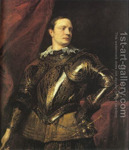 Portrait of a Young General 1622-27 by Sir Anthony Van Dyck - Reproduction Oil Painting
