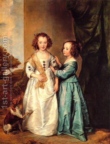 Portrait Of Philadelphia And Elisabeth Cary by Sir Anthony Van Dyck - Reproduction Oil Painting