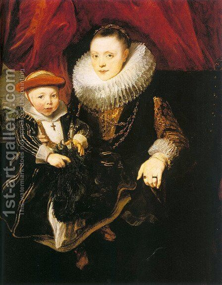Young Woman with a Child (Possibly Baltazarina von Linick and her son), 1618 by Sir Anthony Van Dyck - Reproduction Oil Painting