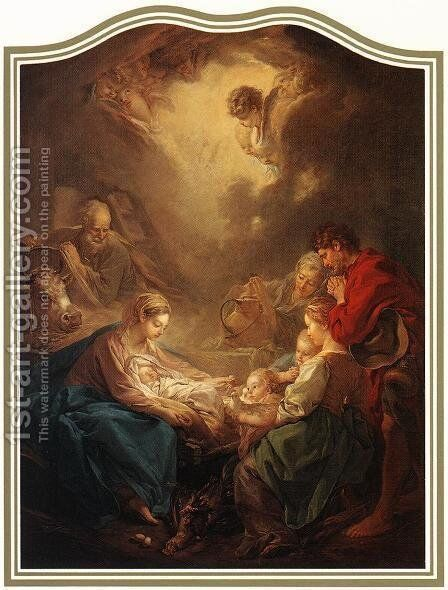 Adoration of the Shepherds 1750 by François Boucher - Reproduction Oil Painting