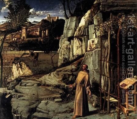 St Francis in Ecstasy 1480-85 by Giovanni Bellini - Reproduction Oil Painting