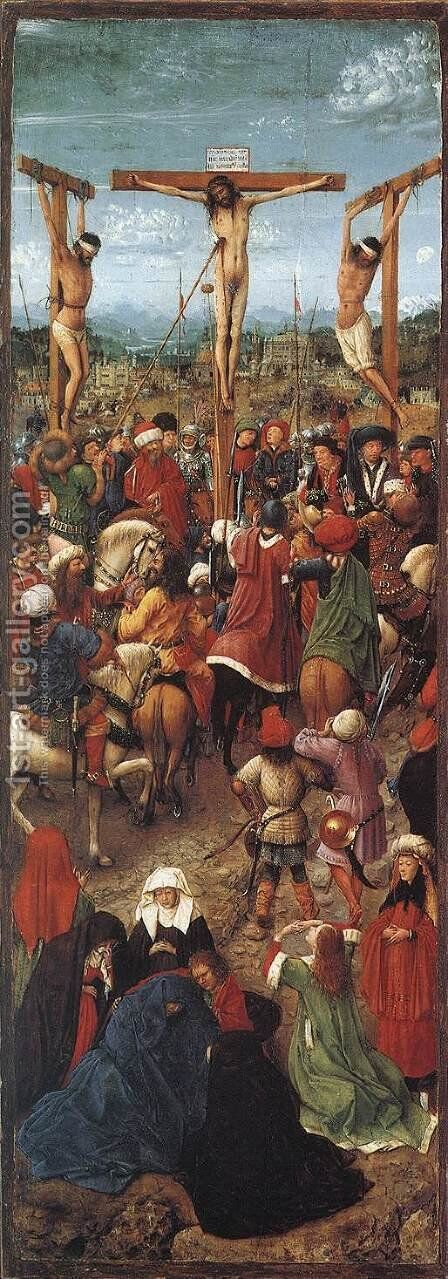 Crucifixion 1420-25 by Jan Van Eyck - Reproduction Oil Painting