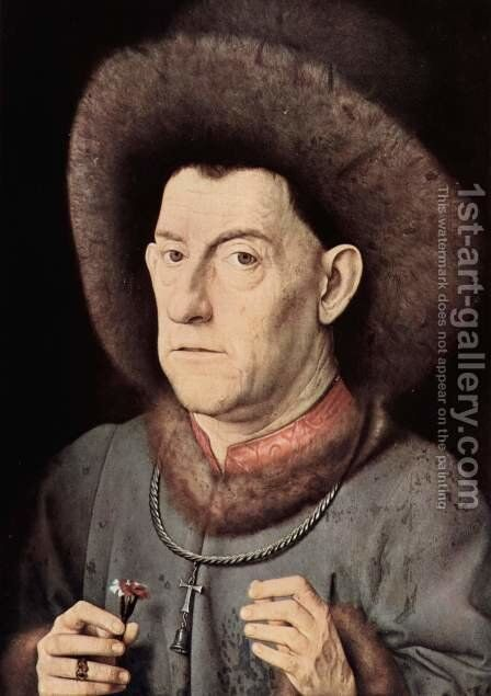 Portrait of a Man with Carnation c. 1435 by Jan Van Eyck - Reproduction Oil Painting