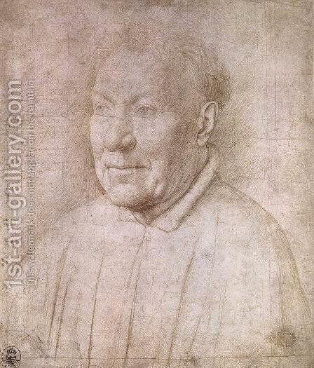 Portrait of Cardinal Albergati c. 1435 by Jan Van Eyck - Reproduction Oil Painting