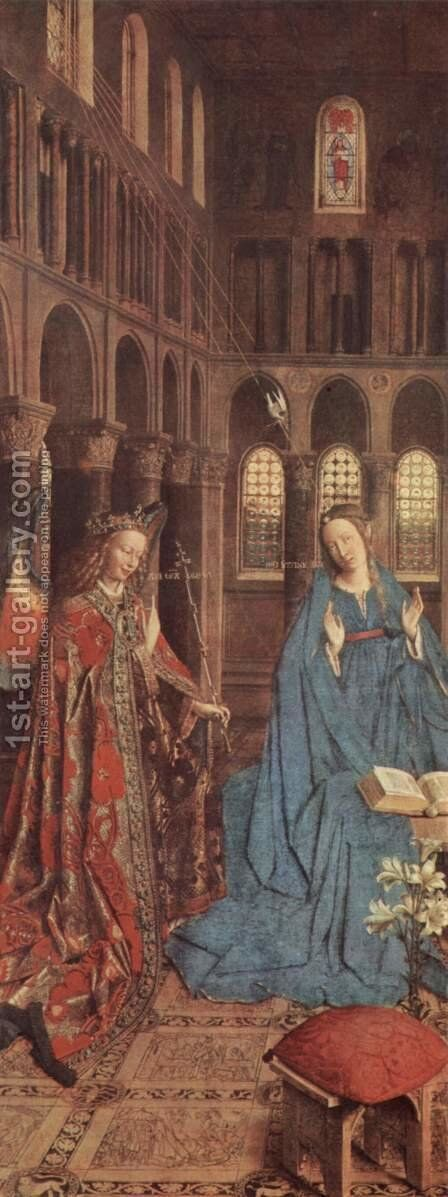 The Annunciation (detail) c. 1435 by Jan Van Eyck - Reproduction Oil Painting