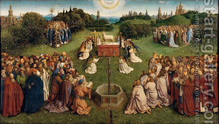 The Ghent Altarpiece- Adoration of the Lamb 1425-29 by Jan Van Eyck - Reproduction Oil Painting