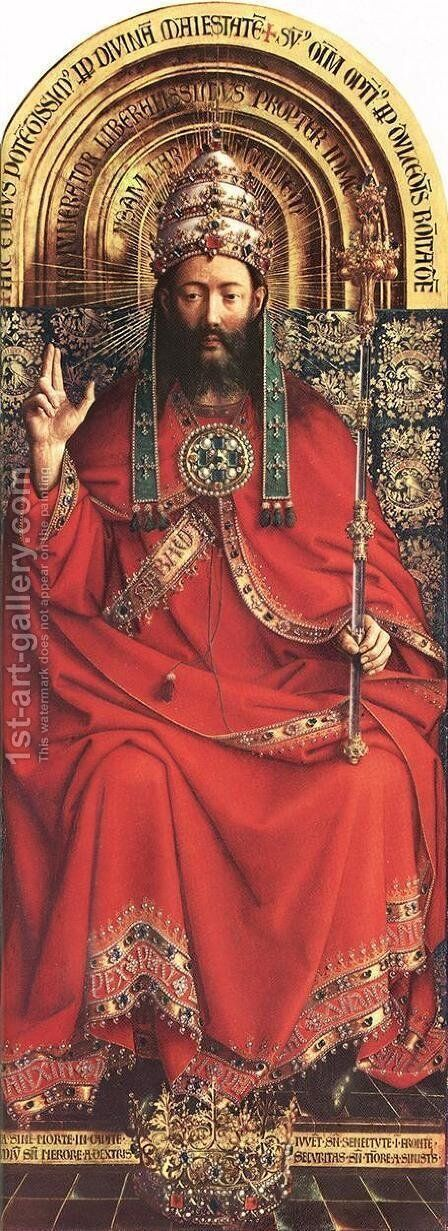 The Ghent Altarpiece- God Almighty 1426-27 by Jan Van Eyck - Reproduction Oil Painting