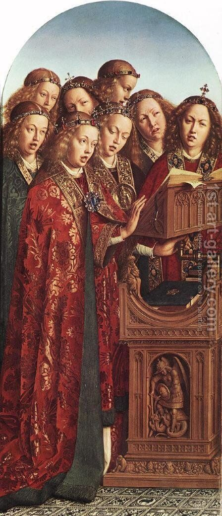 The Ghent Altarpiece- Singing Angels 1427-29 by Jan Van Eyck - Reproduction Oil Painting