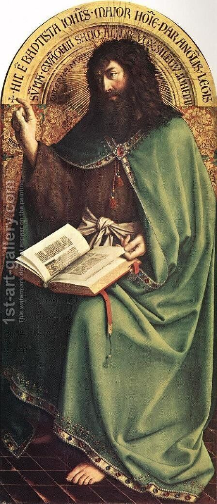 The Ghent Altarpiece- St John the Baptist 1425-29 by Jan Van Eyck - Reproduction Oil Painting
