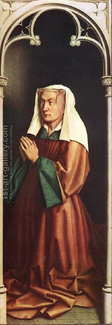 The Ghent Altarpiece- The Donor's Wife 1432 by Jan Van Eyck - Reproduction Oil Painting