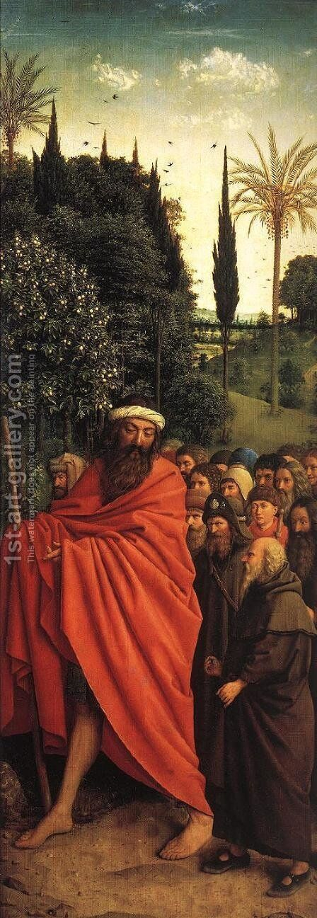 The Ghent Altarpiece- The Holy Pilgrims 1427-30 by Jan Van Eyck - Reproduction Oil Painting