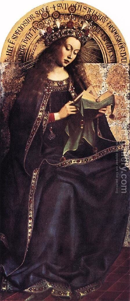 The Ghent Altarpiece- Virgin Mary 1426-29 by Jan Van Eyck - Reproduction Oil Painting