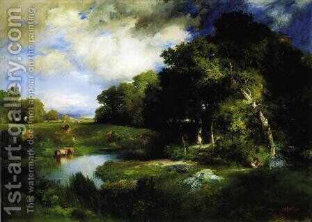 A Pastoral Landscape by Thomas Moran - Reproduction Oil Painting